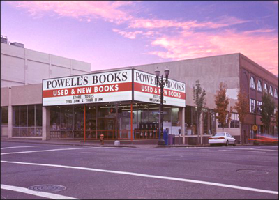 Powell's Books, at sunset, looking NW from the corner of 10th and Burnside, Portland, Oregon, USA